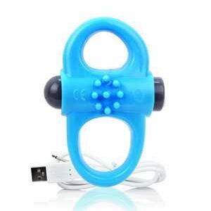 Anneau pénien vibrant bleu 2 faces et rechargeable