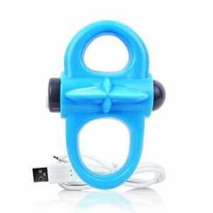Anneau pénien vibrant bleu 2 faces et rechargeable par USB haute de gamme