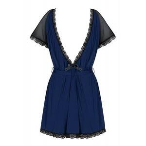825-PEI-6 peignoir and thong navy blue