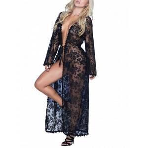 Déshabillé Long lace black robe 7116