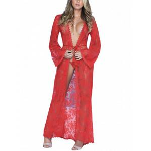 Déshabillé Long lace red robe 7116