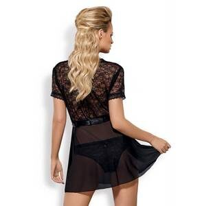 Déshabillé et culotte noir Swanita