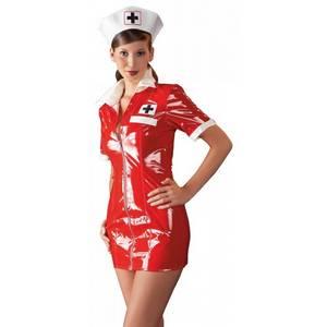 Tenue Rouge en Vinyle Look Infirmière