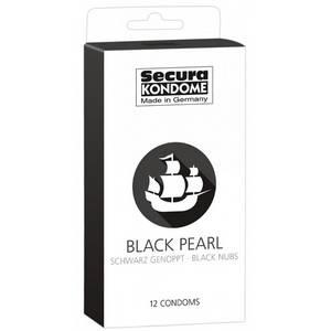 12 Préservatifs Noirs Perlés Black Pearl